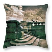 Cement Steps By A City Park Throw Pillow