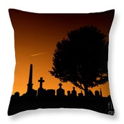 Cemetery And Tree Throw Pillow
