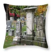 Cemtery Cracked Tombstones Throw Pillow