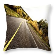 Center Lines Along A Paved Road In Autumn Throw Pillow