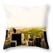 Central Park And The New York City Skyline From Above Throw Pillow