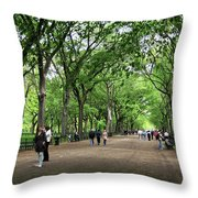 Central Park Arbor Walk Spring Throw Pillow