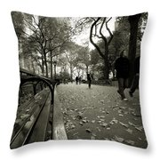 Central Park Bench Throw Pillow