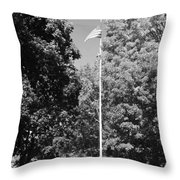 Central Park Flag In Black And White Throw Pillow