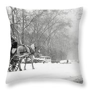 Central Park In Falling Snow Throw Pillow