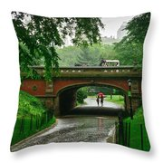 Central Park In The Rain Throw Pillow