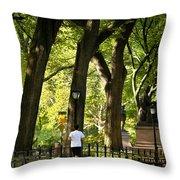 Central Park Jogging Throw Pillow