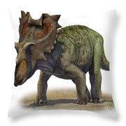 Ceratops Montanus, A Prehistoric Era Throw Pillow
