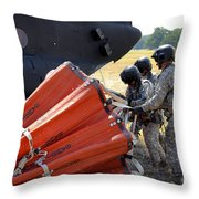 Ch-47 Chinook Helicopter Crew Prepare Throw Pillow