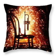 Chair And Horn With Fireworks Throw Pillow