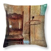 Chair By Open Door Throw Pillow