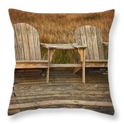 Wooden Chairs Throw Pillow