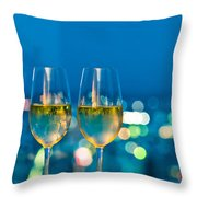 Champagne Glasses In Front Of A Window Throw Pillow