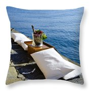 Champagne With Two Pillows Throw Pillow