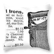 Charcoal Iron, 1895 Throw Pillow