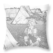 Charcole American Indian Children  Throw Pillow