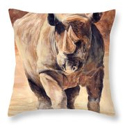 Charging Rhino Throw Pillow