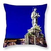 Charles Bridge Statue Of St John Of Nepomuk     Throw Pillow by Jon Berghoff