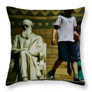 Charles Darwin At The British Museum Throw Pillow