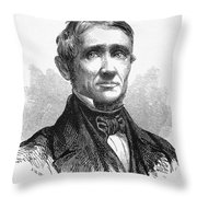 Charles Goodyear /n(1800-1860). American Inventor. Line Engraving, 19th Century Throw Pillow