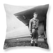 Charles Lindbergh American Aviator Throw Pillow by Photo Researchers