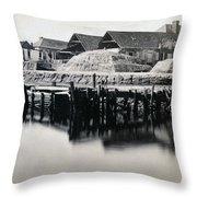 Charleston South Carolina - Vanderhorst Wharf - C 1865 Throw Pillow