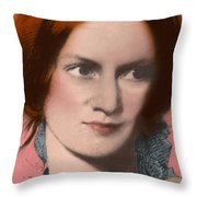 Charlotte Bronte, English Author Throw Pillow by Science Source
