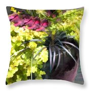 Chartreuse And Purple Plants Throw Pillow