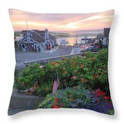 Chatham Fish Pier Summer Flowers Cape Cod Throw Pillow by John Burk