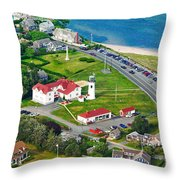 Chatham Lighthouse Cape Cod Massachusetts Throw Pillow