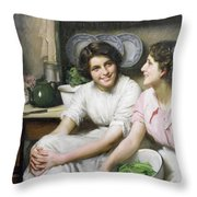 Chatterboxes Throw Pillow by Thomas Benjamin Kennington