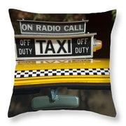 Checker Taxi Cab Duty Sign 2 Throw Pillow