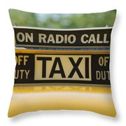 Checker Taxi Cab Duty Sign Throw Pillow