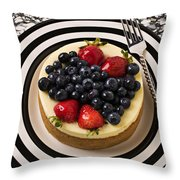 Cheese Cake On Black And White Plate Throw Pillow by Garry Gay