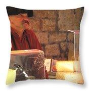 Cheese Seller At Sarlat Market Throw Pillow