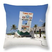 Chen Rio Beach Bar Cozumel Mexico Throw Pillow