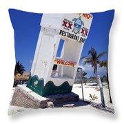 Chen Rio Beach Bar Sign Cozumel Mexico Throw Pillow
