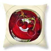 Cherries In A Wine Glass Throw Pillow