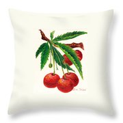 Cherries On A Branch Throw Pillow