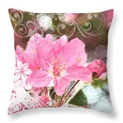 Cherry Blossom Art With Decorations Throw Pillow