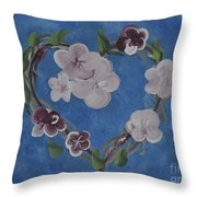 Cherry Blossom Heart Throw Pillow