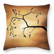 Cherry Blossom Over Dramatic Sky Throw Pillow