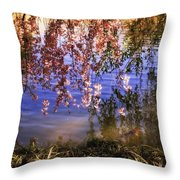 Cherry Blossoms In The Sun - New York City Throw Pillow by Vivienne Gucwa