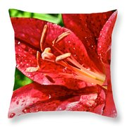 Cherry Red Lily Throw Pillow