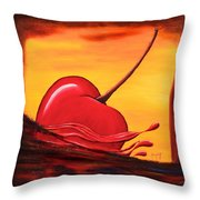Cherry Splash Throw Pillow
