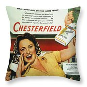 Chesterfield Cigarette Ad Throw Pillow