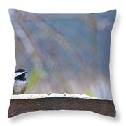 Chestnut-backed Chickadee In The Rain Throw Pillow