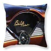 Chevrolet Belair Dashboard Clock And Emblem Throw Pillow
