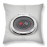 Chevy Gas Cap Silver Emblem Throw Pillow