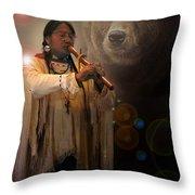Cheyenne  Flute  Musician Throw Pillow